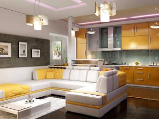 Цветовой интерьер кухни